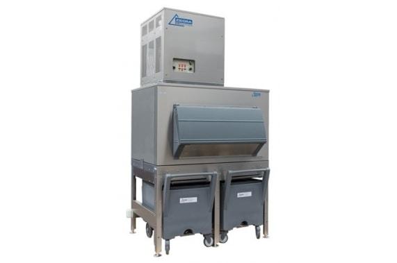 1000 кг в сутки генератор кускового льда с накопителем 400 кг и тележками Ziegra