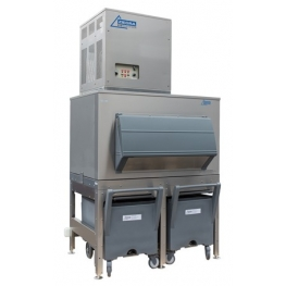 750kg flake ice machine with 400kg elevated bin and cart Ziegra