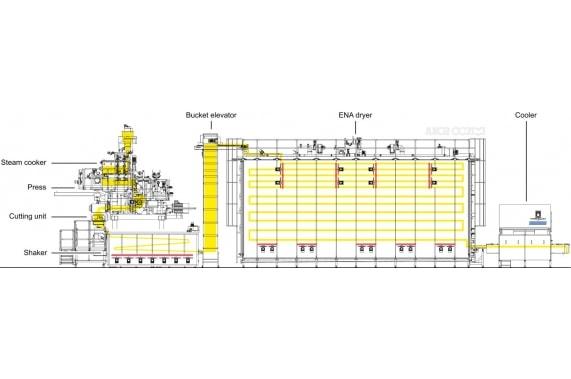 Линия изготовления короткорезанных макарон из риса и кукурузы от 700 кг/час ENA DD AXOR OCRIM