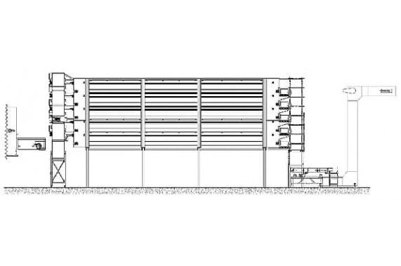 Хранилище с использованием ячеистых транспортёров Cusinato